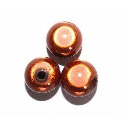 Perle magique 12 mm marron x 4