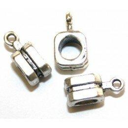 Perle pour breloque 13 mm argenté vieilli x 2