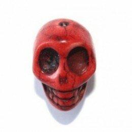 Perle tête de mort rouge 10 mm x 10