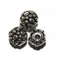 Perle 8 mm CCB argenté x 4