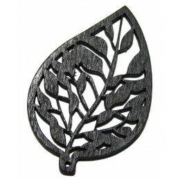 Perle feuille en bois noire 51 mm x 1