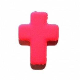 Perle croix satin fuchsia 17x13 mm x 3