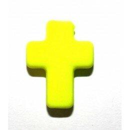 Perle croix satin jaune 17x13 mm x 3
