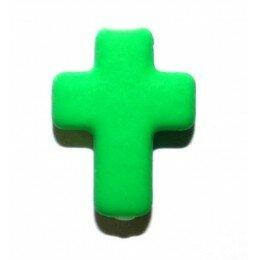 Perle croix satin verte 17x13 mm x 3