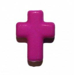 Perle croix satin violette 17x13 mm x 3