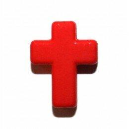 Perle croix satin rouge 17x13 mm x 3