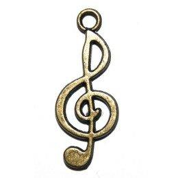 Breloque note de musique 25x10 mm bronze x 4