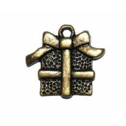 Breloque cadeau 15x16 mm bronze x 2