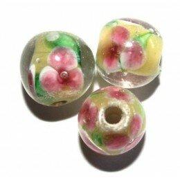 Perle fleurie ronde baroque 9 mm jaune x 1