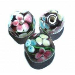 Perle fleurie ronde baroque 9 mm violette x 1