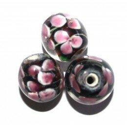 Perle fleurie ronde baroque 12 mm améthyste x 1
