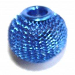 Perle ronde métal 16x13mm bleu x 1