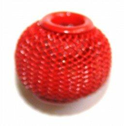 Perle ronde métal 16x13mm rouge mat x 1