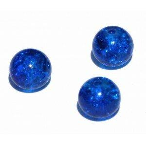 perle en verre craquelé 6mm x 10 bleu marine