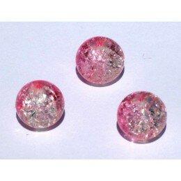 perle en verre craquelé 12 mm x 1 rose