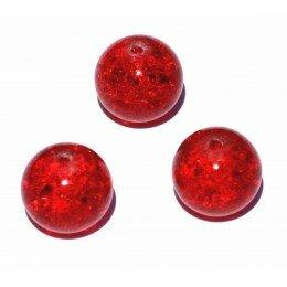 perle en verre craquelé 12 mm x 1 rouge.