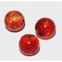 perle en verre craquelé 12 mm x 1 orange