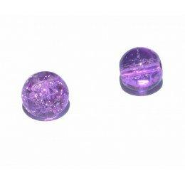 perle en verre craquelé 8 mm x 5 violet