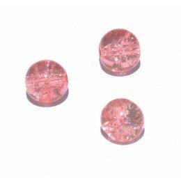 perle en verre craquelé 8 x 5 saumon