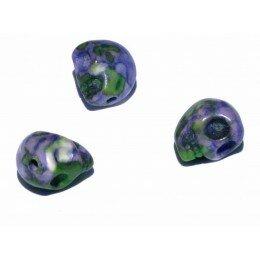 Perle tête de mort en jade 10x 8.5 mm x 2