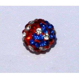 Perle shamballa bleue irisée et rouge 10 mm x 1