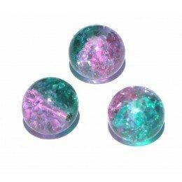 perle en verre craquelé 4 mm x 15 rose et verte