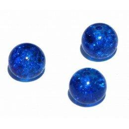 perle en verre craquelé 4 mm x 15 bleu marine