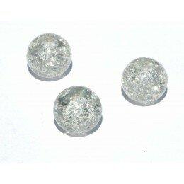 perle en verre craquelé 8 mm x 5 translucide
