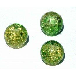 perle en verre craquelé10mm x 4 vert anis