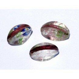 perle olive à facettes16x8 mm verte/ mauve/argentée x 2