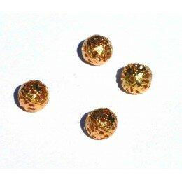 Perle ronde en métal 14 mm doré x 3