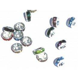 Perle métal avec strass 6x3, multicolor x 50
