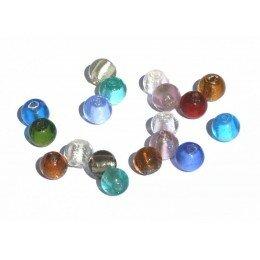 Perle ronde verre 8 mm couleur melange x 10