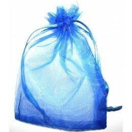 Sachet Organza 12x8 cm bleu marine x 5