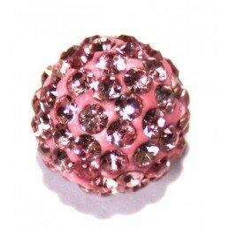 Perle Shamballa rose 10 mm x 10
