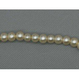 Perle ronde nacrée 3 mm 1 fil de ± 68 cm beige