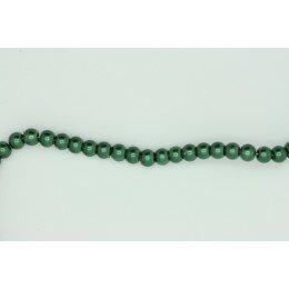 Perle ronde vert bouteille 4 mm fil de ± 80 cm