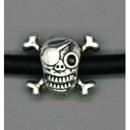 Perle tête de mort métal , 12x15 argenté veilli x 1