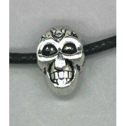Perle tête de mort métal , 12x7,5 argenté veilli x 1