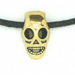Perle tête de mort métal , 15x9 mm doré x 1