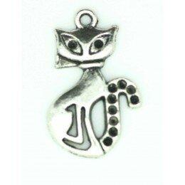 Breloque chat en métal argenté 25x16 mm x 1
