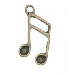 Breloque note métal couleur bronze 21mm x 3