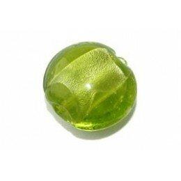 Bombée feuille d'argent 12 mm olivine x 4