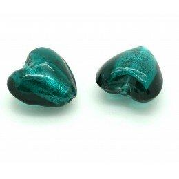 Perle cœur feuille d'argent 15mm bleu zircon x 1