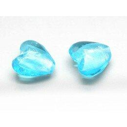 Perle cœur feuille d'argent 15mm bleu x 1