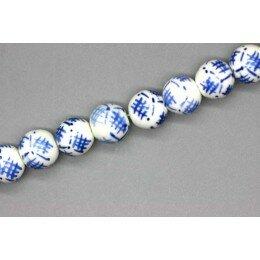 Perle ronde en porcelaine 10 mm Blanc/Bleu x 2