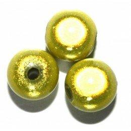 Perle magique 8 mm Jaune/vert x 50