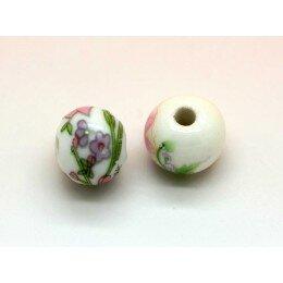 Perle ronde plate en porcelaine 12x10.5 mm blanche à fleur x 2
