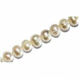 Perle d'eau douce 8-10 mm blanche irisée x 2