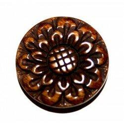 Ronde plate gravée fleur en os marron 25,5 mm x 1